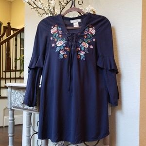 Floral embroidered (Sm-Navy) Flying Tomato Dress